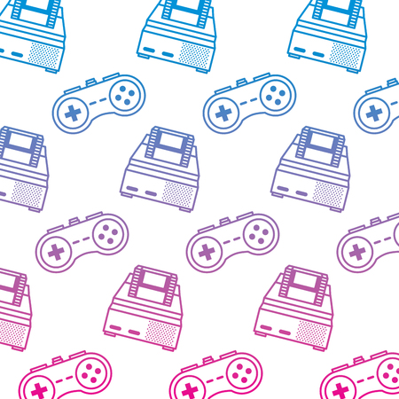 retro video game console and gamepad pattern vector illustration degrade color line image Vectores