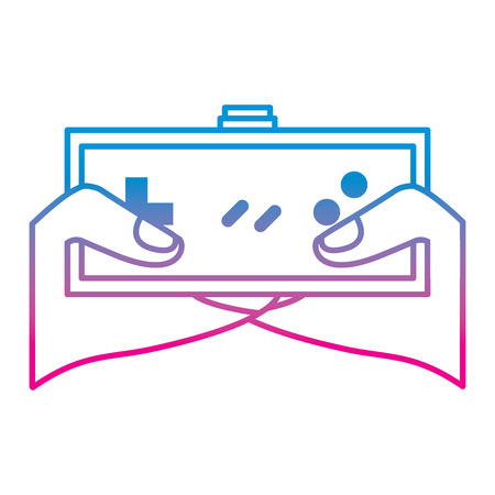 young man hands holding video game control push buttons vector illustration degrade color line image