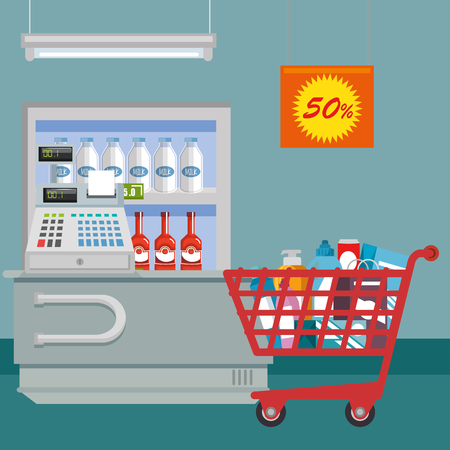 Supermarket groceries in shopping cart vector illustration design. Stock Vector - 96523116
