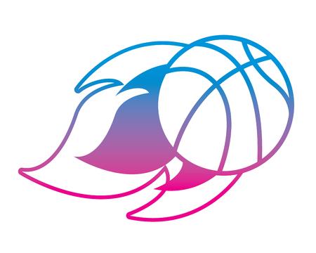 Flying ball basketball on fire, sport vector illustration degrade color line image. Иллюстрация