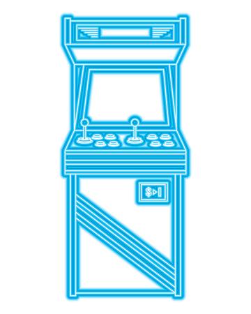 vintage arcade game machine with joysticks and buttons vector illustration blue neon line design Ilustração