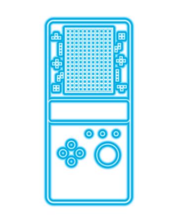 portable game console retro game tetris vector illustration blue neon line design