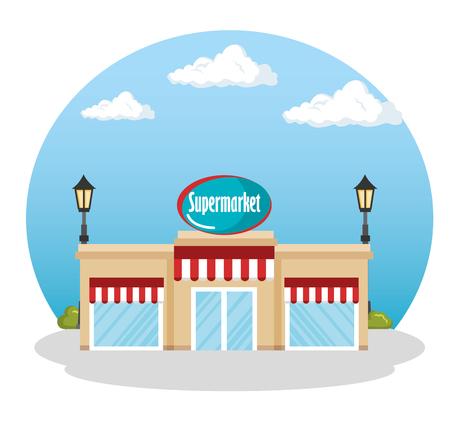 슈퍼마켓 건물 장면 아이콘 벡터 일러스트 레이 션 디자인