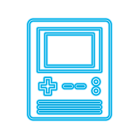 retro portable video game console gadget vector illustration blue neon line design Imagens - 96452314