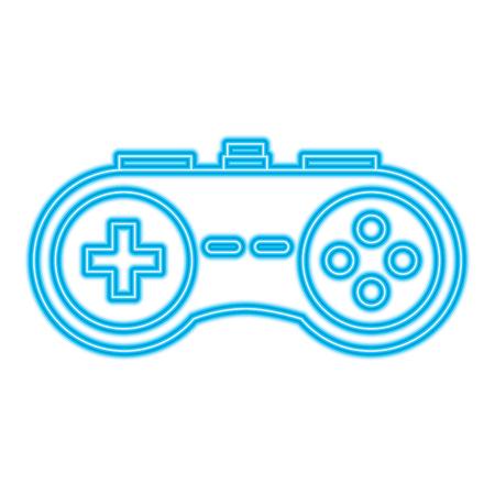 video console gamepad device buttons vector illustration blue neon line design Illustration
