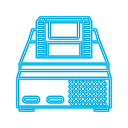 retro video console game and cassette vector illustration blue neon line design