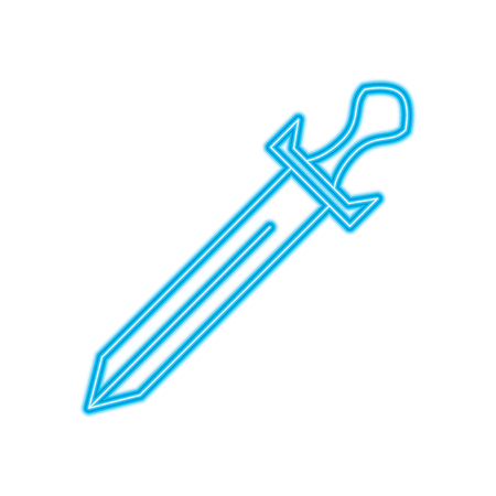 sword weapon battle handle vintage vector illustration blue neon line design