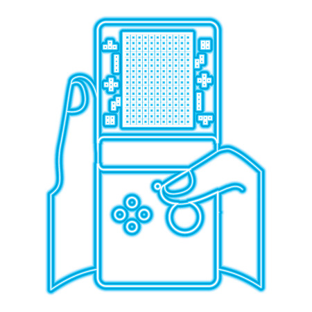 gamer hand holding console with tetris game on screen vector illustration blue neon line design Illustration