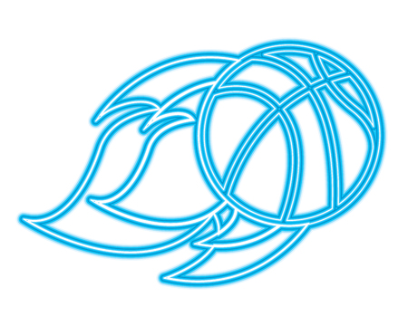 flying ball basketball on fire sport vector illustration blue neon line design Иллюстрация
