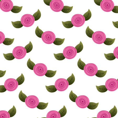 pattern decorative flowers carnation and leaves background vector illustration