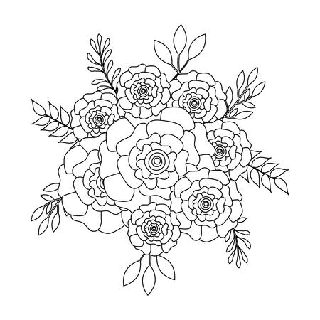 bunch flowers carnation leaves ornament vector illustration outline image
