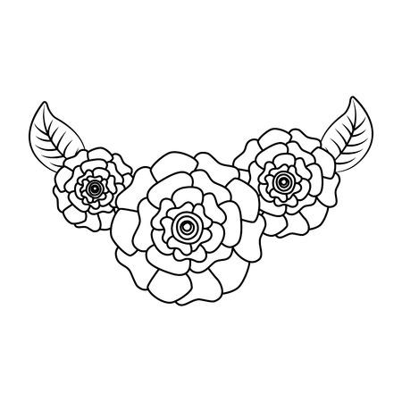 귀여운 신선한 자연 꽃 카네이션 나뭇잎 벡터 일러스트 레이 션 개요 이미지
