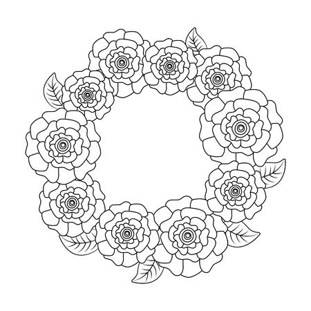 floral wreath flower carnations leaves nature vector illustration outline image Ilustracja