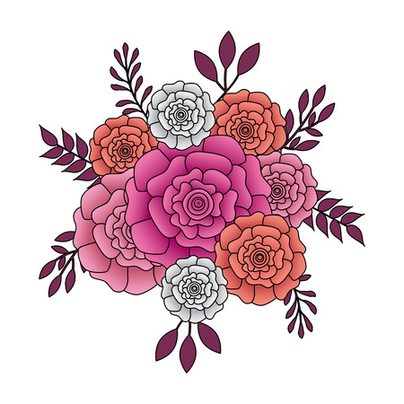 bunch flowers carnation leaves oranement vector illustration Ilustracja