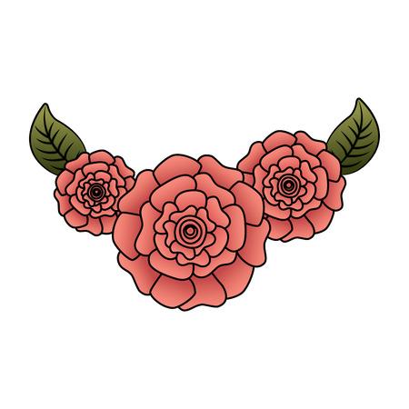 귀여운 신선한 자연 꽃 카네이션 나뭇잎 벡터 일러스트 레이 션