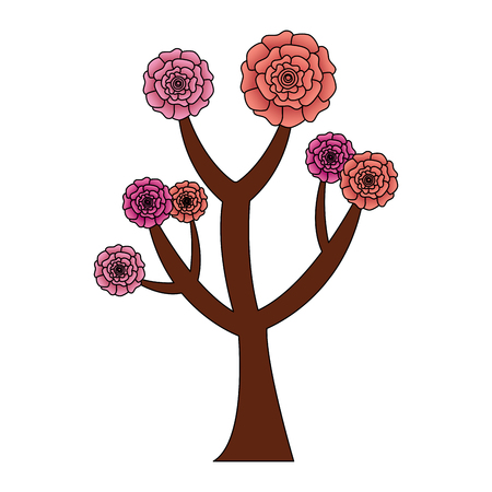 beautiful tree with flowers carnation decoration vector illustration 스톡 콘텐츠 - 96500638