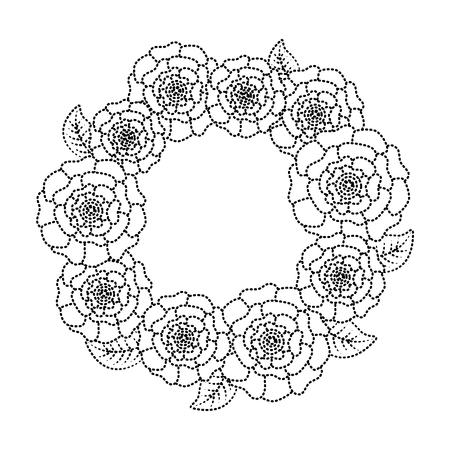 꽃 화 환 꽃 카네이션 나뭇잎 자연 벡터 일러스트 레이 션 점선 이미지