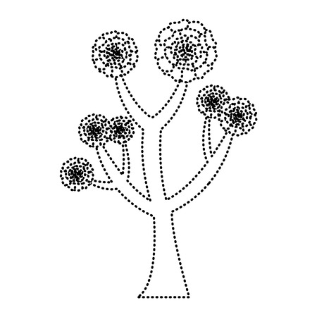 beautiful tree with flowers carnation decoration vector illustration dotted line image Illustration
