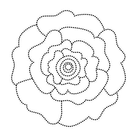 장식 자연 카네이션 꽃, 평면도입니다. 벡터 일러스트 레이 션, 점선 이미지입니다.