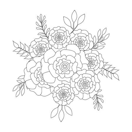 Mazzo di fiori fiori di garofano foglie ornamento illustrazione vettoriale linea tratteggiata immagine Archivio Fotografico - 96467088