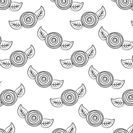 패턴 장식 꽃 카네이션과 나뭇잎 배경 벡터 일러스트 레이 션 점선 이미지