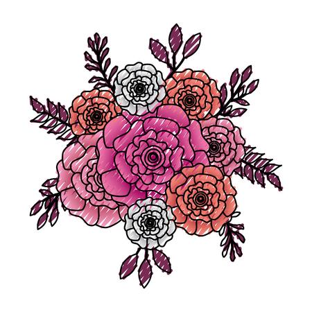 bunch flowers carnation leaves ornament vector illustration