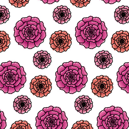 Flowers bloom floral natural pattern decoration vector illustration.