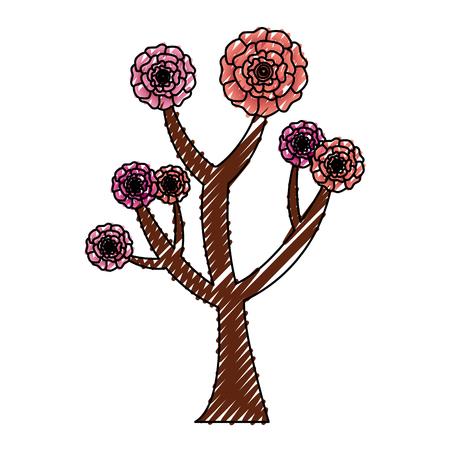꽃 카네이션 장식 벡터 일러스트와 함께 아름다운 나무 스톡 콘텐츠 - 96470778