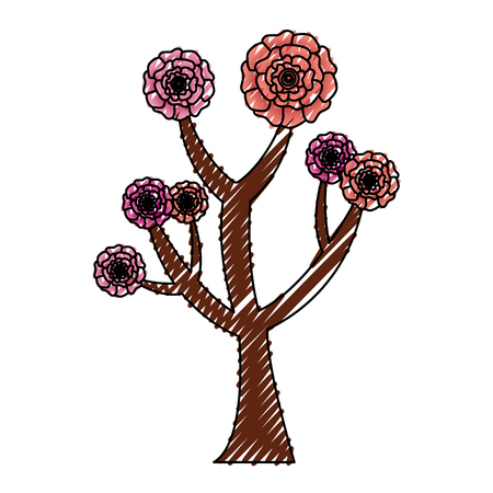 beautiful tree with flowers carnation decoration vector illustration 스톡 콘텐츠 - 96470778