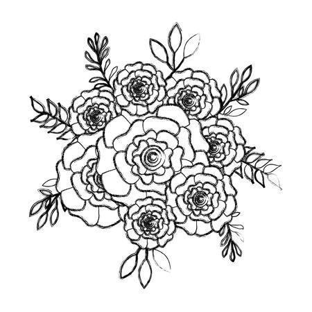 bunch flowers carnation leaves ornament vector illustration sketch design Vectores
