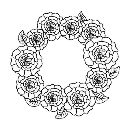 꽃 화 환 꽃 카네이션 나뭇잎 자연 벡터 일러스트 스케치 디자인