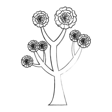 beautiful tree with flowers carnation decoration vector illustration sketch design