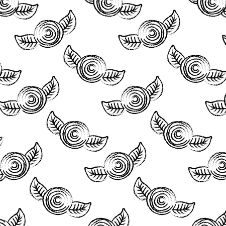 패턴 장식 꽃 카네이션과 나뭇잎 배경 벡터 일러스트 스케치 디자인 일러스트