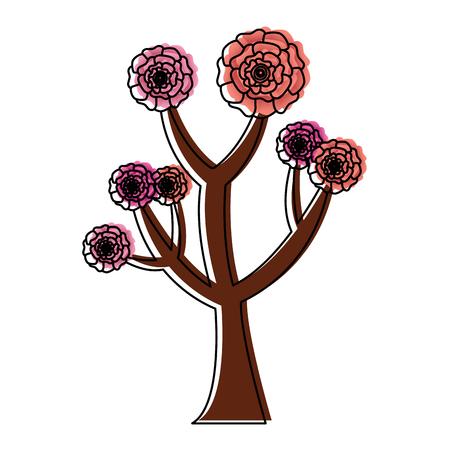 꽃 카네이션 장식 벡터 일러스트와 함께 아름다운 나무 일러스트