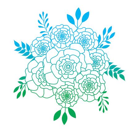 무리 꽃 카네이션 나뭇잎 장식 벡터 일러스트 레이 션 라인 컬러 디자인을 저하