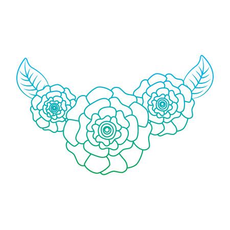 귀여운 신선한 자연 꽃 카네이션 나뭇잎 벡터 일러스트 레이 션 라인 컬러 디자인을 저하 일러스트