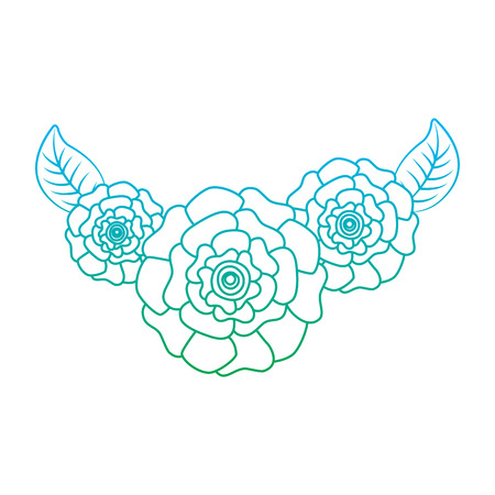 cute fresh natural flowers carnation leaves vector illustration degrade line color design