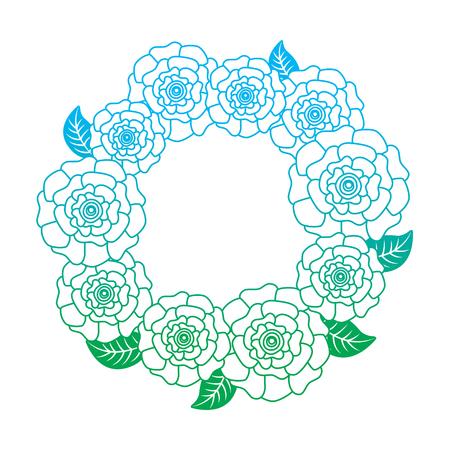 꽃 화 환 꽃 카네이션 나뭇잎 자연 벡터 일러스트 레이 션 라인 컬러 디자인을 저하