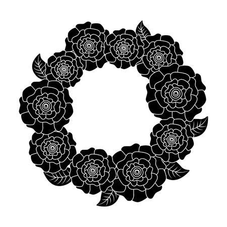 꽃 화환 꽃 카네이션 나뭇잎 자연 벡터 일러스트 픽토그램 디자인