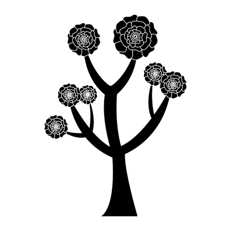 beautiful tree with flowers carnation decoration vector illustration pictogram design