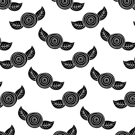 패턴 장식 꽃 카네이션과 나뭇잎 배경 벡터 일러스트 레이 션 그림 디자인
