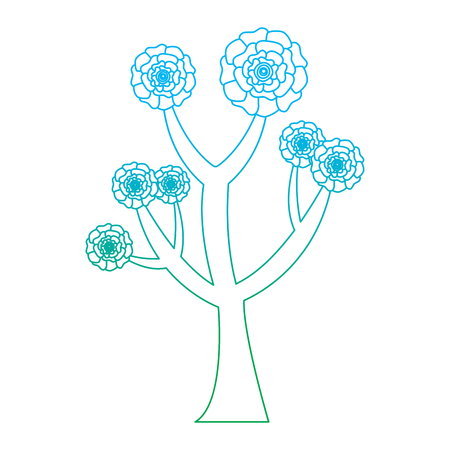 Beautiful tree with flowers carnation decoration vector illustration degrade line color design Çizim
