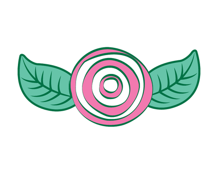 decorative pink rose with leaves top view vector illustration pink and green design