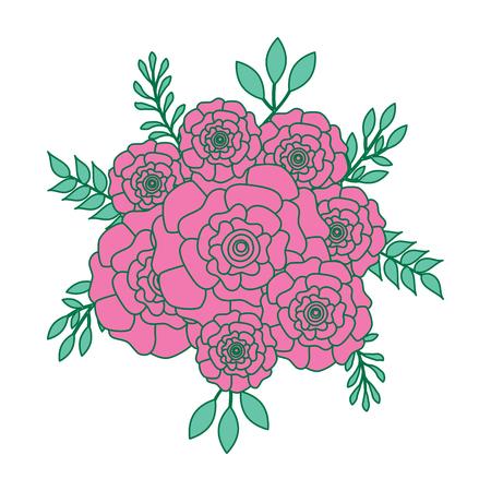무리 꽃 카네이션 나뭇잎 oranement 벡터 일러스트 레이 션 핑크와 그린 디자인