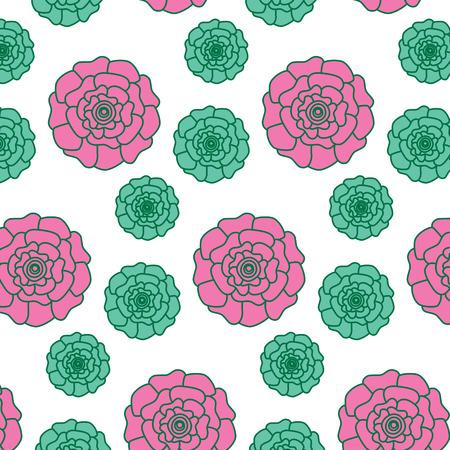 flowers bloom floral natural pattern decoration vector illustration pink and green design