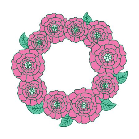 꽃 화 환 꽃 카네이션 나뭇잎 자연 벡터 일러스트 레이 션 핑크와 그린 디자인