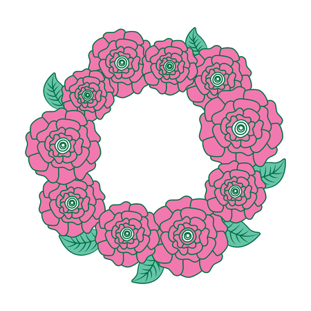 floral wreath flower carnations leaves nature vector illustration pink and green design