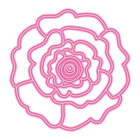 장식 자연 카네이션 꽃 상위 뷰 벡터 일러스트 레이 션 네온 핑크와 그린 라인 디자인