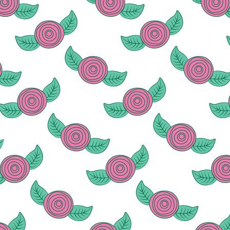 패턴 장식 꽃 카네이션과 나뭇잎 배경 벡터 일러스트 레이 션 핑크와 그린 디자인 일러스트
