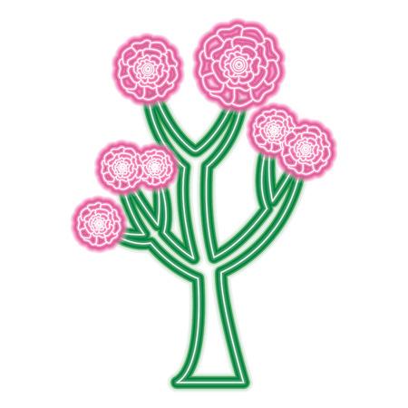 꽃 카네이션 장식 벡터 일러스트와 함께 아름 다운 나무 네온 핑크와 그린 라인 디자인